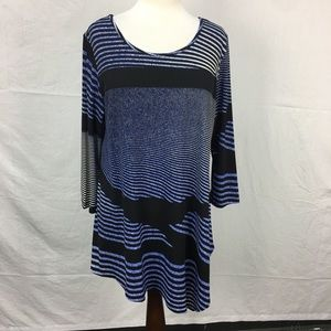 Clara Sun Woo Blue/Black Striped Asymmetric Top